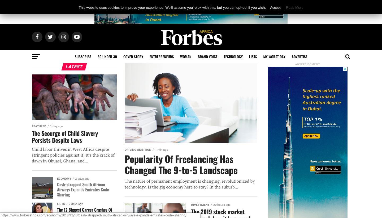 Forbes Africa website
